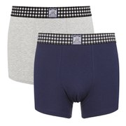 Le Shark Men's 2 Pack Checked Waistband Boxers - Medieval Blue/Grey Marl