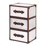 3 Drawer Tower Leather and Aluminium Trunk