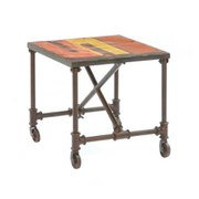 Reclaimed Teak and Metal Rectangular Table with 6 Attached Stools