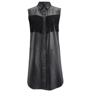 Ganni Women's Leather Fringed Shirt Dress - Black