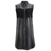 Ganni Women's Leather Fringed Shirt Dress - Black