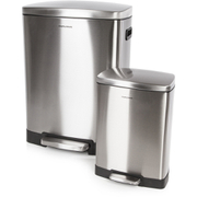Morphy Richards 977100 Rectangular Pedal Bin Set - Stainless Steel - 50L & 12L