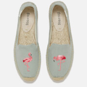 Soludos Women's Flamingo Embroidered Smoking Slipper Espadrilles - Chambray