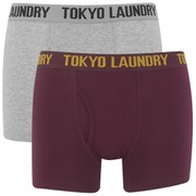Tokyo Laundry Men's 2-Pack Concord Boxers - Oxblood/Light Grey Marl