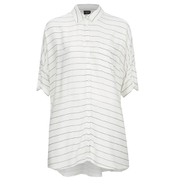 VILA Women's Very Short Sleeve Stripe Shirt - Snow White