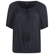 VILA Women's Licia Short Sleeve Blouse with Tie Detail - Total Eclipse