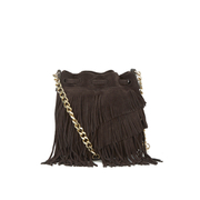 Elizabeth and James Women's Fringed Pouch Bag - Chocolate