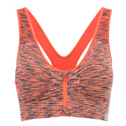 Myprotein Women's Medium Support Zip Front Sports Bra - Orange Marl
