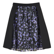 Carven Women's Floral Skirt - Black/Lilac