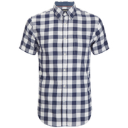 Produkt Men's Short Sleeve Checked Shirt - Navy Blazer