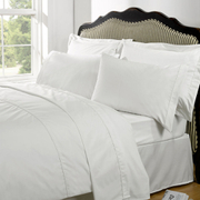 Highams 100% Egyptian Cotton Plain Dyed Bedding Set - White