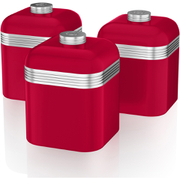 Swan SWKA1020RN Retro Set of 3 Canisters - Red
