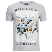 DC Comics Justice League Flying Heren T-Shirt - Grey Marl