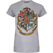 Harry Potter Hogwarts Logo Damen T-Shirt - Grau