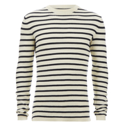 Selected Homme Men's Call Crew Neck Jumper - Papyrus/Dark Sapphire