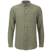 Selected Homme Men's None Trent Solid Long Sleeve Shirt - Olive Night Melange