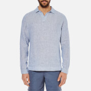 Orlebar Brown Men's Long Sleeve Seersucker Shirt - Navy