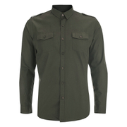 Brave Soul Men's Charlie Pocket Long Sleeve Shirt - Khaki