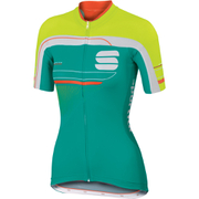 Sportful Gruppetto Women's Short Sleeve Jersey - Green/White/Yellow