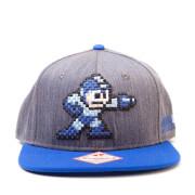 Mega Man Pixel Snapback Cap - Grey/Blue