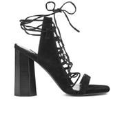 Senso Women's Niala IV Lace Front Heeled Sandals - Ebony