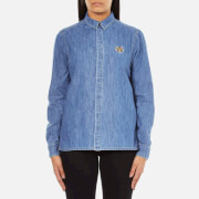 KENZO Women's Denim Small Tiger Logo Shirt - Blue