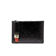 Lulu Guinness Women's Grace Medium Glitter Lipstick Clutch Bag - Black/Red