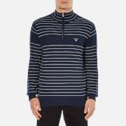 GANT Men's Stripe Half Zip Knitted Jumper - Marine
