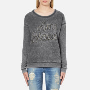 Maison Scotch Women's Basic Burn Out Theme Sweatshirt - Grey