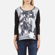 Maison Scotch Women's 3/4 Sleeve Photo Print T-Shirt - Black