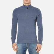 GANT Men's Donegal Zip Knitted Jumper - Marine Melange