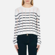 T by Alexander Wang Women's Dropped Needle Merino Jersey Cropped Pullover Jumper - Ink/Ivory