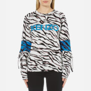 KENZO Women's Tiger Stripes Logo Sweatshirt - White