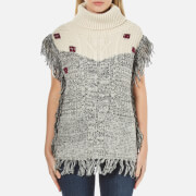 Maison Scotch Women's Fringed Sleeveless Poncho with Funnel Neck - Grey