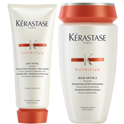 Kérastase Nutritive Bain Satin 2 250ml & Nutritive Lait Vital 200ml