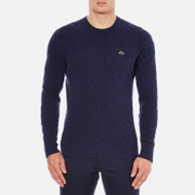Lacoste Men's Crew Neck Cable Stitch Jumper - Midnight Blue/Chine