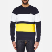 Lacoste Men's Stripe Sweatshirt - Navy/White