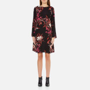 Gestuz Women's Demi Printed Dress With Bell Sleeve - Black/Pink Flower Print