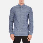 Lacoste L!ve Men's Long Sleeve Oxford Shirt - Dark Indigo/Flour