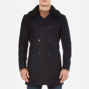 Selected Homme Men's Long Peacoat - Dark Navy