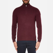 Hackett London Men's Lambswool Zip Neck Knitted Jumper - Berry
