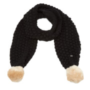 Superdry Women's Bobble Stitch Fur Pom Pom Scarf - Black