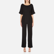 Paisie Women's Half Sleeve Jumpsuit with Low V Back - Black