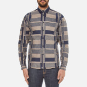 Folk Men's Patterned Long Sleeve Shirt - Navy Stone