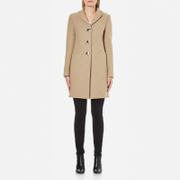 Love Moschino Women's Silver Heart Button Coat - Beige