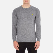 Lyle & Scott Men's Crew Neck 3 Colour Mouline Jumper - Mid Grey Marl