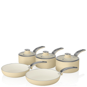 Swan Retro Pan Set - Cream (5 Piece)