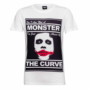 DC Comics Men's Batman The Joker The Curve T-Shirt - Weiß