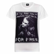 DC Comics Mens Batman The Joker Never for Free T-Shirt - Wit