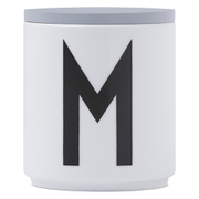 Design Letters Wooden Lid For Porcelain Cup - Grey